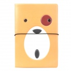 Cute Cartoon Bear + Glasses Style Passport Holder - Brown + White