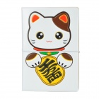 Cute Lucky Cat Pattern PVC Soft Rubber Passport Case - White
