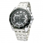 MIKE Water Resistant Silver Resin Glass Dial Steel Alloy Quartz Analog Wrist Watch for Men - Black