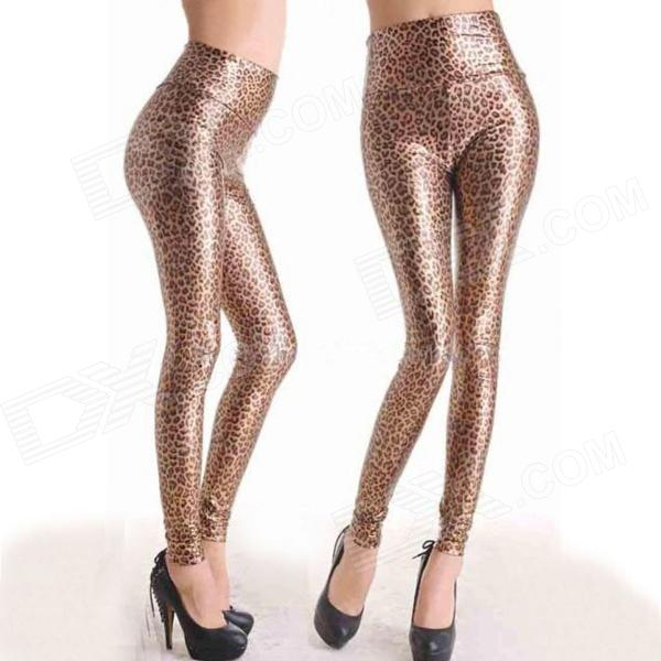 Chic Shining Fashion Leopard Print Patent Leather Slim Leggings Pants - Gold + Brown