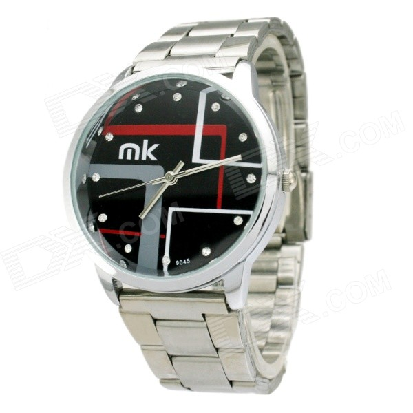 Mike Water Resistant Black Resin Glass Dial Steel Alloy Quartz Analog Wrist Watch for Men - Silver adjustable wrist and forearm splint external fixed support wrist brace fixing orthosisfit for men and women