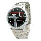 Mike Water Resistant Black Resin Glass Dial Steel Alloy Quartz Analog Wrist Watch for Men - Silver