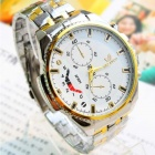 Men's Round Resin Glass Dial Steel Alloy Quartz Analog Wrist Watch - Golden + Silver