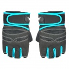 XLY 202 Stylish Anti-Slip Fitness Half-Finger Gym Gloves for Men - Blue + Black (Size-L / Pair)