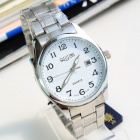 Men's Water Resistant Resin Dial Stainless Steel Quartz Analog Wrist Watch w/ Calendar - Silver