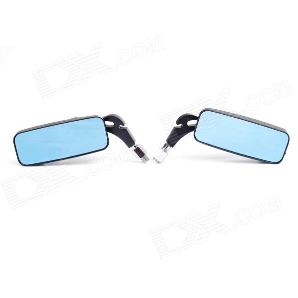 Universal 8/10mm Thread Bolt Motorcycle Rectangular Rearview Mirror - Black + Blue (Pair)