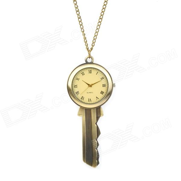 Magic Key Style Zinc Alloy Analog Quartz Necklace Watch - Antique Brass (1 x 377)
