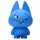 Cute Naughty Cat Shape USB Speaker w/ 3.5mm Audio Male to Male Cable - Blue