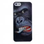 Ultra Thin 3D Smoking Orangutan Pattern Protective PVC Back Case for Iphone 5 - White + Black