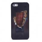 Ultra-Thin 3D Chocolate Magic Mirror Style Protective PVC Back Case for Iphone 5 - Black + Coffee