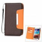 Lichee Pattern Protective PU Leather Case w/ Card Slots for Samsung Galaxy Note 2 N7100 - Brown