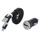 Car Cigarette Lighter Charger w/ Micro USB Male Cable for GALAXY S4 / i9500 + More-Black (DC 12~24V)
