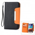 Lichee Pattern Protective PU Leather Case w/ Card Slots for Samsung Galaxy Note 2 N7100 - Black