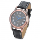NARY 6032 Retro Couple PU Leather Band Quartz Analog Wrist Watch for Men - Bronze + Black