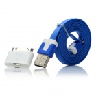Flat USB 2.0 Male to Micro USB Male Cable w/ Micro USB Female to 30-Pin Male Adapter - Blue (100cm)