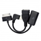 OTG Adapter Cables Set for Samsung Galaxy Tab Tablet PC + Cellphone - Black (8cm / 2 PCS)