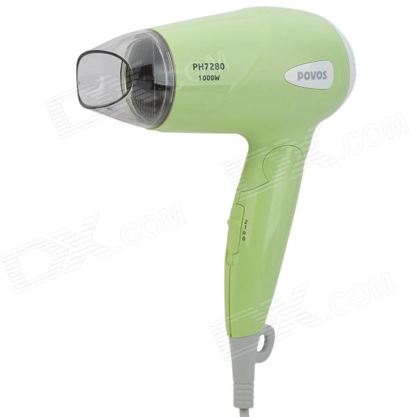 POVOS PH7280 1000W 3-Mode Hair Dryer - Green (AC 220V / 2-Flat-Pin Plug)
