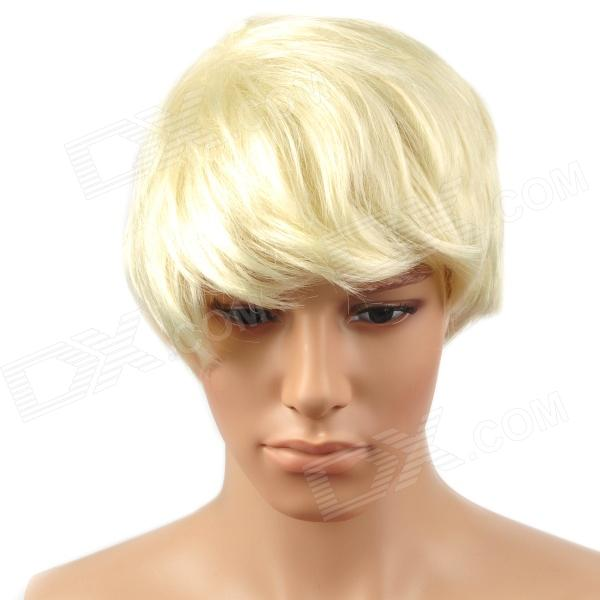 Fashion Man's Fleeciness Short Natural Straight Hair Wig - Milky White 20 hanks of white violin bow hair 78cm to 81cm stallion white horse tail hair