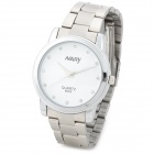 NARY 6003 Concise Stainless Steel Band Analog Quartz Men's Wrist Watch - Silver + White (1 x 337A)