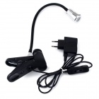 Rotational Eye-Protection 3W 220lm LED White Table Light w/ Clip - Black + Silver