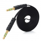 Flat 3.5mm M-M Stereo Aux Car Audio Cable for IPHONE+IPOD- Black(1m)