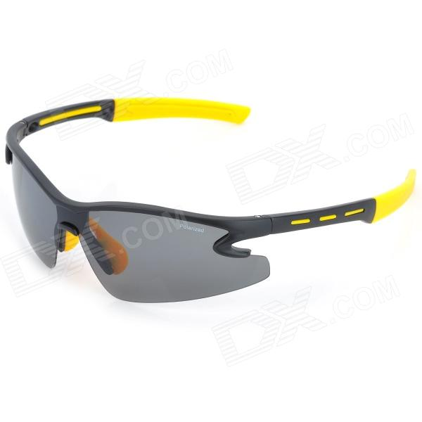 KASHIRO 9184 Outdoor Sport Resin Lens PC Frame UV Protection Polarized Sunglasses - Black + Yellow cashiro 9184 outdoor cycling sport windproof polarized sunglasses goggle black red revo
