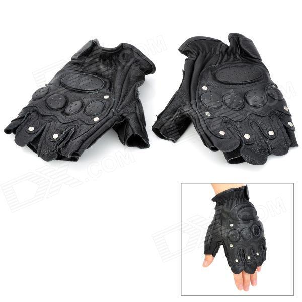 Toread SW3065 Professional Thickened Sheepskin Half-Finger Gloves - Black (Pair)