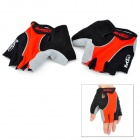 NUCKILY Bicycle Cycling Men's Half-Finger Gloves - Red + Black (Pair)