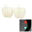 Cute Apple Style Silicone 3-Mode Bicycle Wheel Lamps - White (2 PCS / 2 x CR2016)