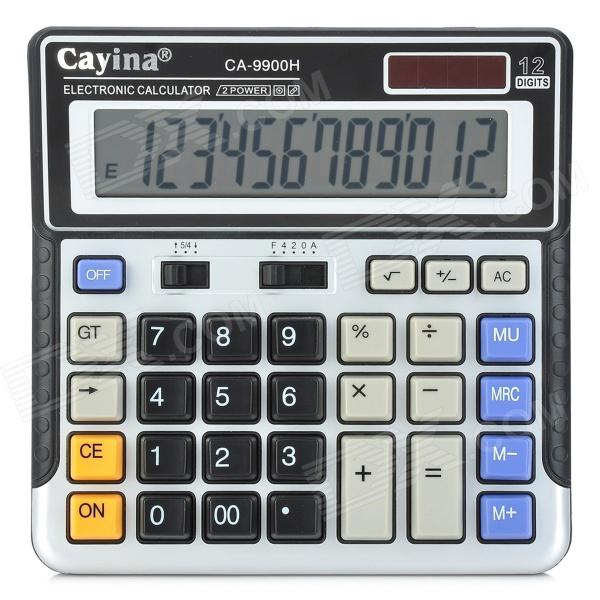 "Cayina CA-9900H Solar / AA Powered 5"" LCD 12-Digit Calculator - Black + Silver"