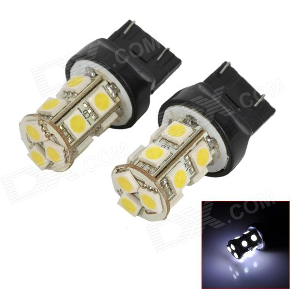 744350-13W T20 2W 130lm 13-SMD 5050 LED White Car Steering / Brake / Tail / Backup Lights (2 PCS) 115750 13w 1157 2 3w 250lm 13 smd 5050 led white car steering brake tail backup lights