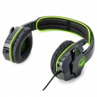 SADES SA708 Cool Stereo Gaming Headphone w/ Microphone - Green + Black (3.5mm Plug / 1.8m-Cable)