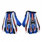 Skull Style Half-Fingers Anti-Slip Motorcycle Racing Gloves - Black + Blue + Red + White (Size XL)