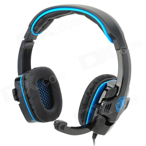 SADES SA708 Game Headphones w/ Microphone + Volume Control - Black + Blue (180cm-Cable) meelectronics atlas on ear headphones with inline microphone and universal volume control