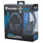 SADES SA708 Game Headphones w/ Microphone + Volume Control - Black + Blue (180cm-Cable)