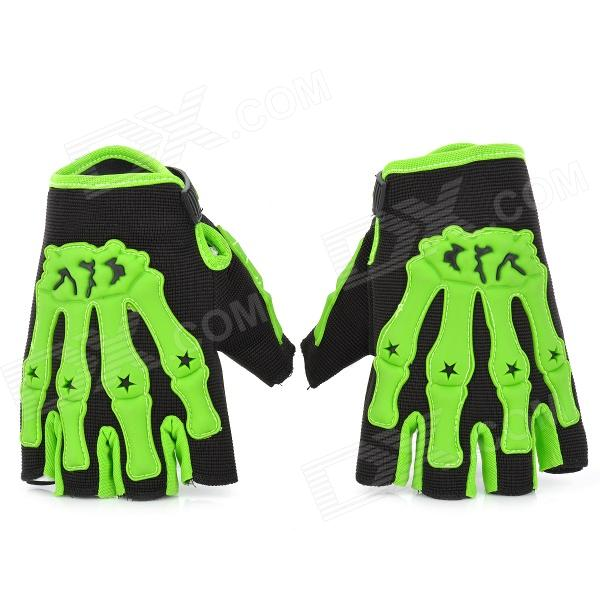 Skull Style Half-Fingers Anti-Slip Motorcycle Racing Gloves - Black + Green (Size: M)