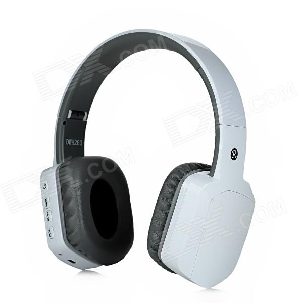 DWH260 Rechargeable 2.4G Wireless Digital Headphones w/ Microphone - White + Grey - DXHeadphones<br>Model: DWH260 - Wireless Type: 2.4G - Color: White + grey - Material: Plastic housing - Impedance: 32 ohm - Sensitivity: 86 dB - Headphone Frequency Response: 20~20000Hz - RF frequency range: 2.4GHz~2.48GHz - Modulation method: GFSK - Working voltage: 3.1~4.2V - Working current: 50mA - Working time: 6 hours - Charging time: 2 hours - Battery capacity: 320mAh - Power (max.) 5mW - Driver diameter: 40mm - Adapter working voltage: DC 5V - Working current: 65mA - Receiver battery capacity: 250mAh - Interface: USB + AUX - Operation Range: 20 meters / 360&amp;#39; - Super anti-interference capability - Auto power off and power-saving features - Almost equal to the original CD hi-fi stereo sound - Enjoy the happy wireless sound: 2.4GHz wireless audio high fidelity ensure the music data the original method of taste is the transmission and let you enjoy such as cable free of CD intend to effect - Plug and play connection of intelligence: The adapter is 3.5mm AUX and USB interface which can be used in MP3 / MP4 player DVD CD TV PC etc.; Various kinds of audio player no installation program pairing is wide and its usage is convenient - Adjustable tightness wearing: Stretching type adjustable head wears reasonable in the headset wear instability clip the ear of easily adjusted can improve long time after wearing suitably adjust tightness can effectively relieve wearing auricle fatigue - The microphone uses advanced technology in order to eliminate noise for high quality speech entry can be used for Skype MSN QQ Yahoo and two-way conversation convenient and quick - Packing List: - 1 x Earphones - 1 x AC power charger adapter (100~240V / EU plug) - 2 x USB cables (100cm) - 1 x 3.5mm audio male to male cable (100cm) - 1 x 3.5mm audio female to 2-RCA male cable (30cm) - 1 x 2.4G receiver - 1 x Chinese / English user manual<br>