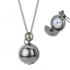 Stylish Round Ball Shape Zinc Alloy Analog Quartz Pocket Watch - Black