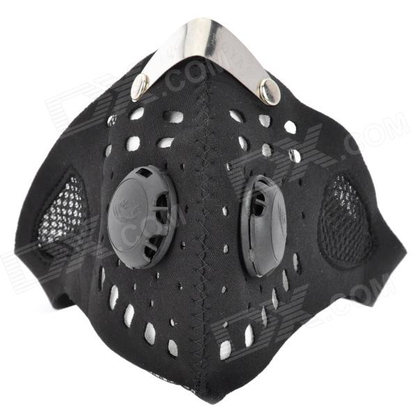 AMT-026 Outdoor Motorcycle Riding Warm Face Mask - Black + White