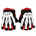 Skull Style Half-Fingers Anti-Slip Motorcycle Racing Gloves - Black + White + Red (Size M)