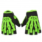 Skull Style Half-Fingers Anti-Slip Motorcycle Racing Gloves - Black + Green (Size: XL)