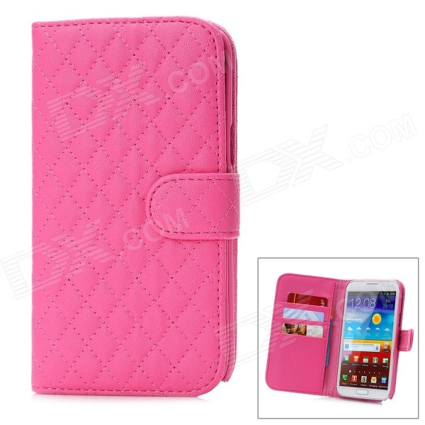 Фото Protective Lambskin + ABS Case for Samsung Galaxy Note 2 N7100 - Deep Pink 0 4mm ultrathin protective plastic back case for samsung galaxy note 2 n7100 translucent deep pink