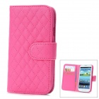 Protective Lambskin + ABS Case w/ Card Slot for Samsung Galaxy S3 i9300 - Deep Pink