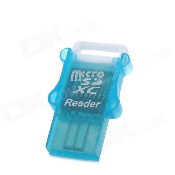USB 2.0 MicroSD / TF Card Reader - Translucent Blue (Max. 64GB)