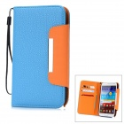 Lichee Pattern Protective PU Leather Case for Samsung Galaxy Note 2 N7100 - Blue + Orange