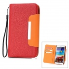 Lichee Pattern Protective PU Leather Case for Samsung Galaxy Note 2 N7100 - Red + Orange