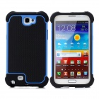 Protective Plastic + Silicone Case for Samsung Galaxy Note 2 N7100 - Black + Blue