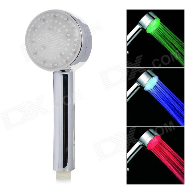Dreamy Seven Colors Light Changing 5-LED Round Shaped Rainfall Shower Head - Silver handheld water saving pressure rain shower head 14
