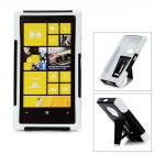 Protective Plastic + Silicone Back Cover Case w/ Stand for Nokia Lumia 920 - White + Black