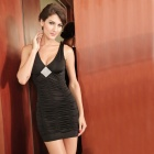 2549-2 Sexy Curve Fold Rhinestone Polyester + Spandex V-Collar Cocktail Dress - Black (Size L)